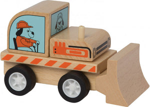 a photo of the product: Manhattan Toy bulldozer Varoom hout junior 10 cm hout naturel
