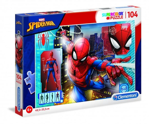 a photo of the product: Clementoni supercolor Spider-Man legpuzzel 104 stukjes