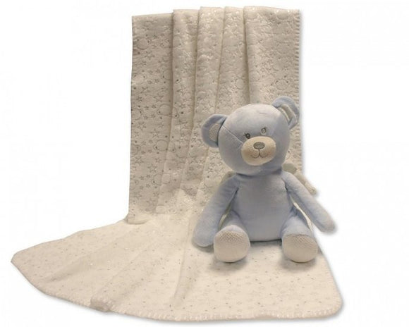 a photo of the product: Snuggle Baby babydeken met knuffelbeer 26 cm crème/lichtblauw set 2-delig