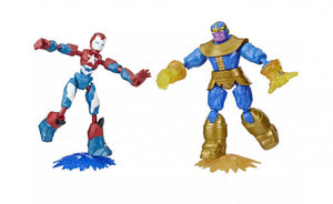 a photo of the product: Marvel actiefiguren Avengers Dualpack Iron Patriot/Thanos 4-delig