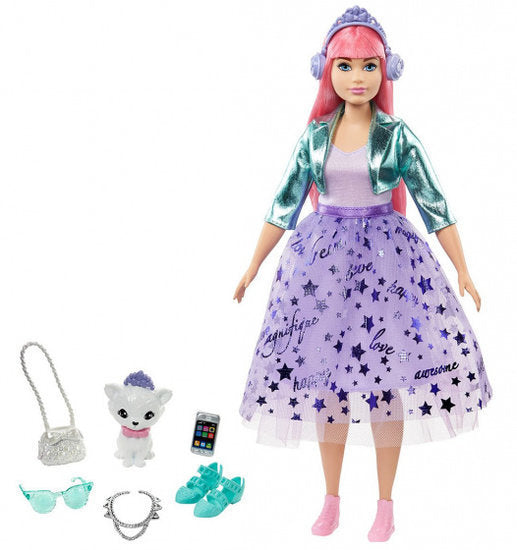 a photo of the product: Barbie tienerfoto Princess Daisy meisjes 35 cm paars 3-delig