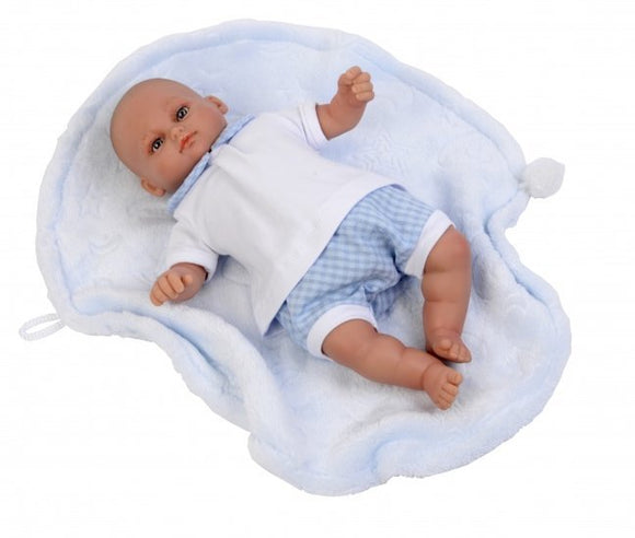 a photo of the product: Falca babypop Mark 30 cm met deken blauw