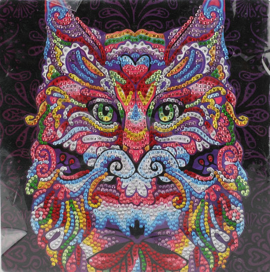 a photo of the product: Toi-Toys diamond painting Kat junior 20 x 20 cm 5-delig