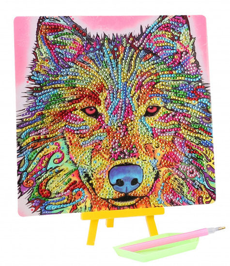 a photo of the product: Toi-Toys diamond painting Wolf junior 20 x 20 cm 5-delig
