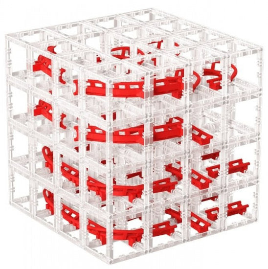 a photo of the product: DesignNest knikkerbaan MagnetCubes polystyreen rood 127-delig