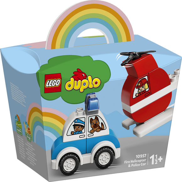 a photo of the product: DUPLO My First Brandweerhelikopter en politiewagen