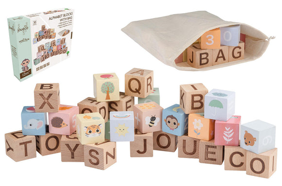 a photo of the product: Joueco - The Wildies Family Alfabet blokken met zakje
