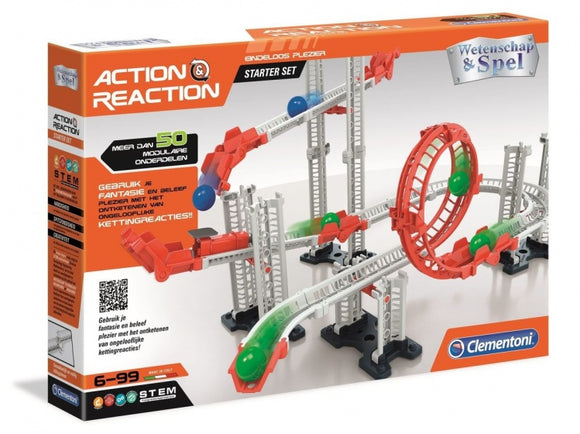 a photo of the product: Clementoni knikkerbaan Action & Reaction starterset 50-delig