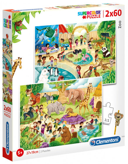 a photo of the product: Clementoni legpuzzel Dierentuin 2-in-1 karton 120 stukjes