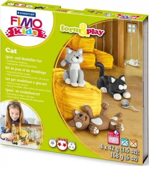 a photo of the product: fimo speelklei piraat junior grijs/zwart/wit 6-delig