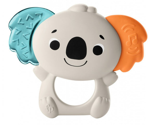 a photo of the product: Fisher-Price bijtring Koala 13 cm rubber ivoorwit/blauw/oranje
