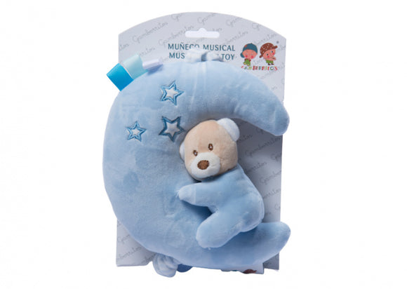 a photo of the product: Gamberritos muzikale bijtring knuffel 55 cm blauw