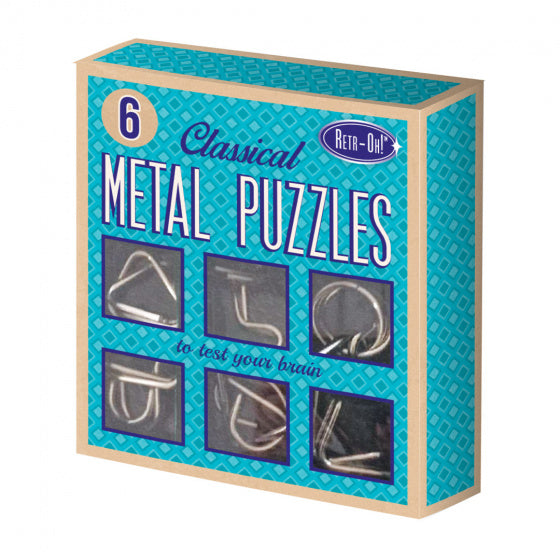 a photo of the product: Invento metalen puzzels retr-Oh unisex blauw 6 stuks