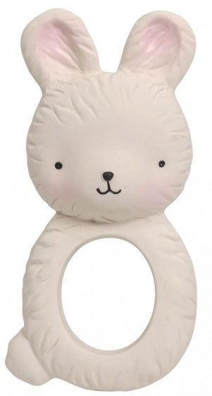 a photo of the product: A Little Lovely Company bijtring Konijn junior 10 cm rubber beige
