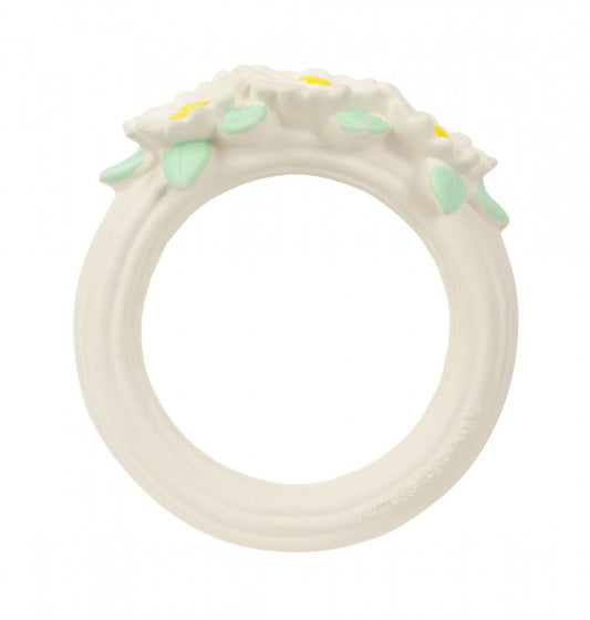 a photo of the product: A Little Lovely Company bijtring Madeliefjes meisjes 11 cm rubber wit