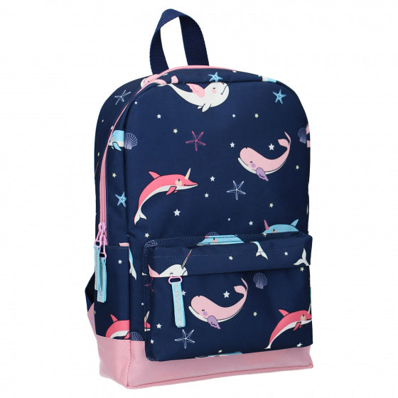 a photo of the product: Milky Kiss rugzak True Blue narwal 10 liter polyester blauw/roze