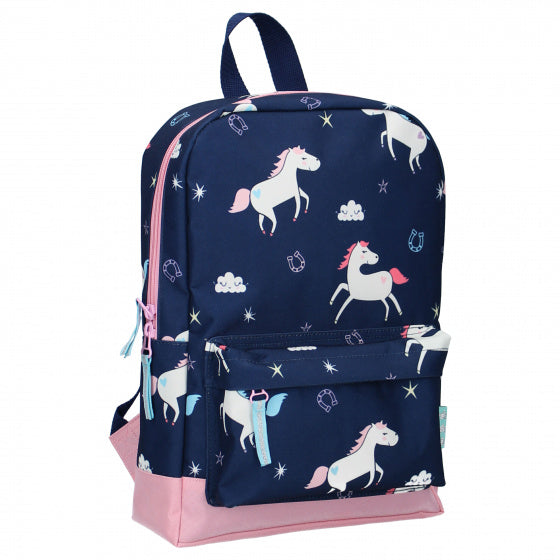 a photo of the product: Milky Kiss rugzak True Blue paard 10 liter polyester blauw/roze