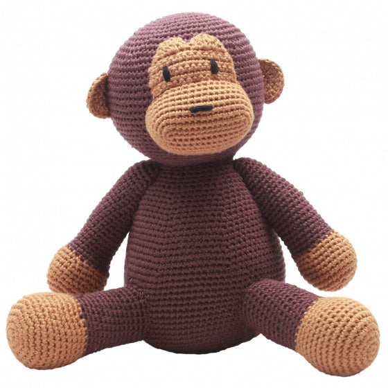 a photo of the product: natureZOO knuffeldier aap gehaakt 20 cm bruin
