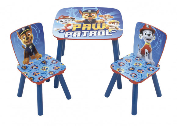 a photo of the product: Nickelodeon tafel en stoelen Paw Patrol junior hout blauw 3-delig