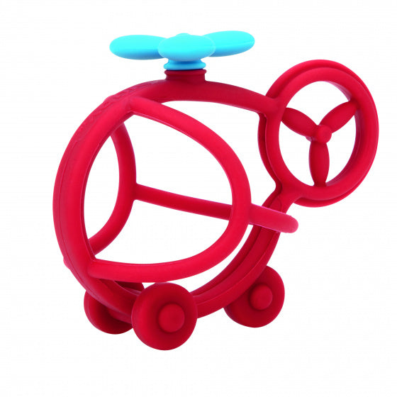 a photo of the product: Nuby bijtfiguur helicopter junior 16,1 cm siliconen rood