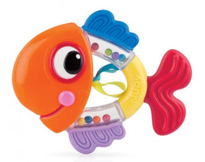 a photo of the product: Nuby bijtring rammelaar junior 14,4 x 10,6 cm siliconen oranje