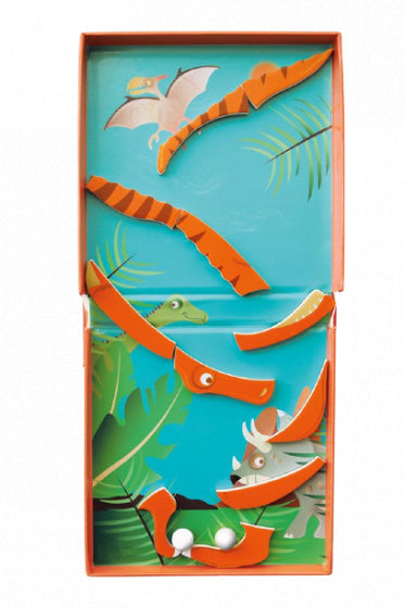 a photo of the product: Scratch magneetspel 2-in-1 Dino 15,5 cm staal oranje 15-delig