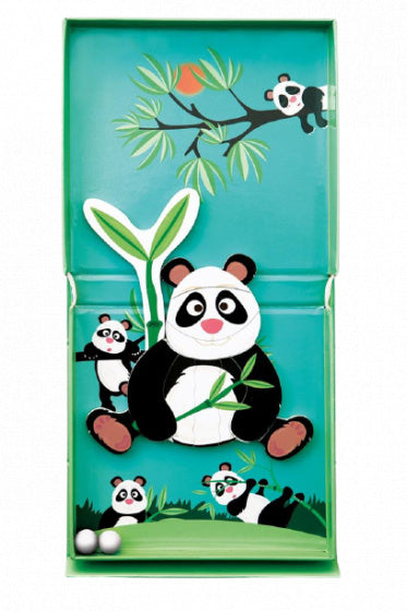 a photo of the product: Scratch magneetspel 2-in-1 Panda 15,5 cm staal groen 15-delig
