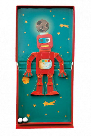 a photo of the product: Scratch magneetspel 2-in-1 Robot 15,5 cm staal rood 15-delig