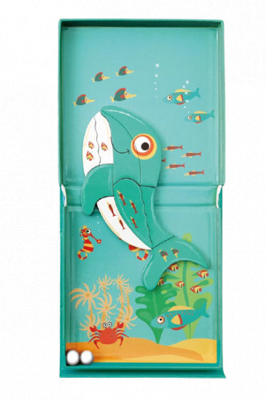 a photo of the product: Scratch magneetspel 2-in-1 Walvis 15,5 cm staal groen 15-delig