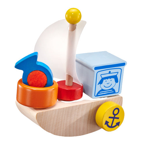a photo of the product: Selecta Spielzeug speelset Vissersboot junior hout naturel 6-delig