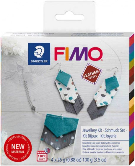 a photo of the product: Staedtler sieradenset leder-look Fimo klei 16-delig