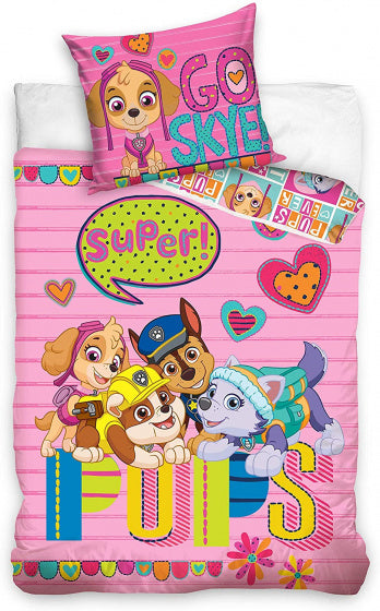a photo of the product: Carbotex dekbedovertrek Paw Patrol pups 140 x 200 / 90 cm roze