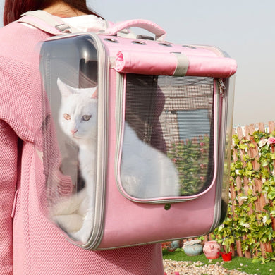dual-window breathable pet backpack pink