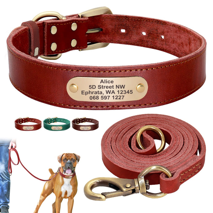 personalised leather dog collar and leash