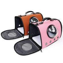 Load image into Gallery viewer, astronaut capsule design pet carrier pink and brown