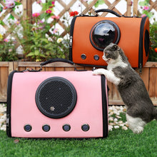 Load image into Gallery viewer, cat with astronaut capsule design pet carrier pink