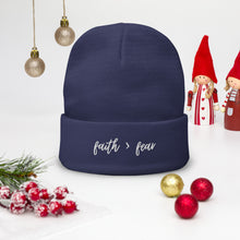 Load image into Gallery viewer, Faith Over Fear Embroidered Beanie