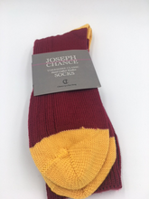 Load image into Gallery viewer, Joseph Chance Yorkshire Wool Socks Claret With Amber Toes and Heel