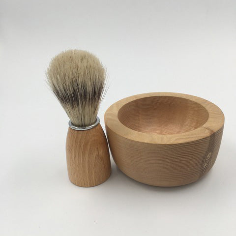 Joseph Chance Handturned Shaving Bowl and Brush Set