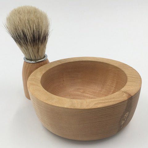 Joseph Chance Handturned Shaving Bowl and Brush Set with Shaving Soap