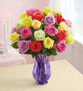 Two Dozen Assorted  Roses with Purple Vase - Munchiezz LLC