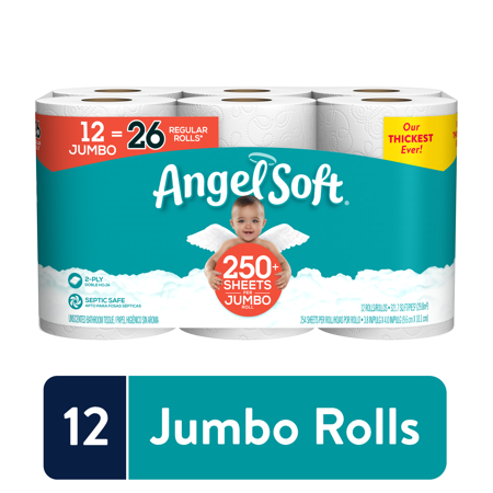 Angel Soft Toilet Paper, 12 Jumbo Rolls - Munchiezz LLC