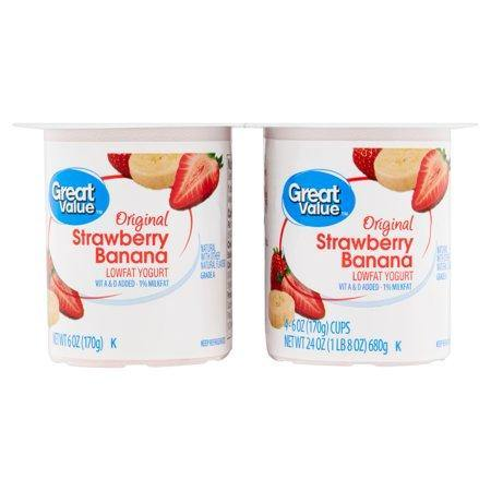 Great Value Original Lowfat Yogurt, 6 oz, 4 count - Munchiezz LLC