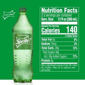 Sprite Lemon Lime Soda Soft Drink, 1.25 Liters - Munchiezz LLC
