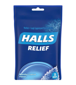 HALLS Relief Honey Lemon Flavor Cough Drops, 1 Bag (30 Total Drops)