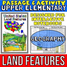 Load image into Gallery viewer, land features passage for social studies interactive notebooks for kids