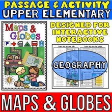 Load image into Gallery viewer, maps and globes passage for social studies interactive notebooks for kids