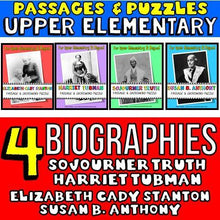Load image into Gallery viewer, soujourner truth, harriet tubman, elizabeth cady stanton, susan b. anthony biographies for kids