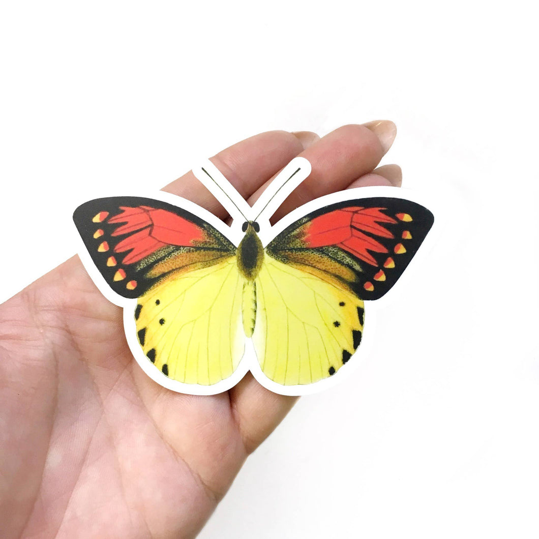 Red and Yellow Butterfly Vinyl Sticker