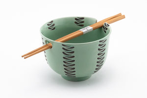 "BOWL W/ CHOPSTICKS Light Green 5""Dx3.75""H"